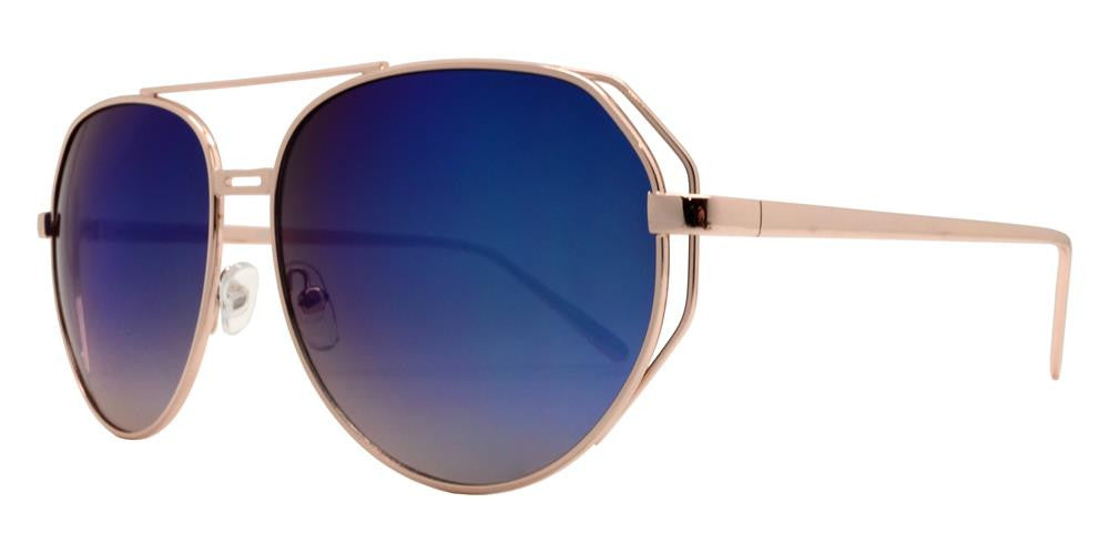 Dynasol Eyewear - Wholesale Sunglasses - 8622 RVC - Modern Cut Out Aviator Sunglasses with Color Mirror Lens - sunglasses