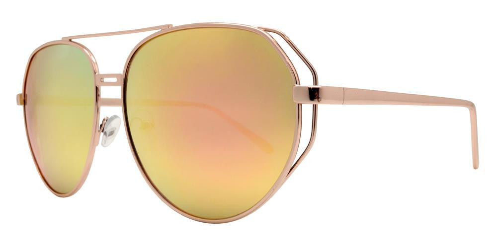 Wholesale - 8622 RVC - Modern Cut Out Oval Shaped Sunglasses with Color Mirror Lens - Dynasol Eyewear