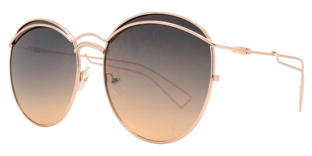 Dynasol Eyewear - Wholesale Sunglasses - 8630 - Slim Round Cut Out Metal Sunglasses - sunglasses