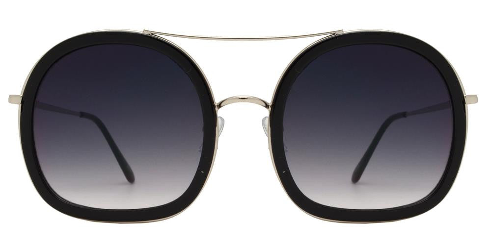Dynasol Eyewear - Wholesale Sunglasses - 8672 - Flat Bottom Round Plastic Sunglasses with Brow Bar - sunglasses