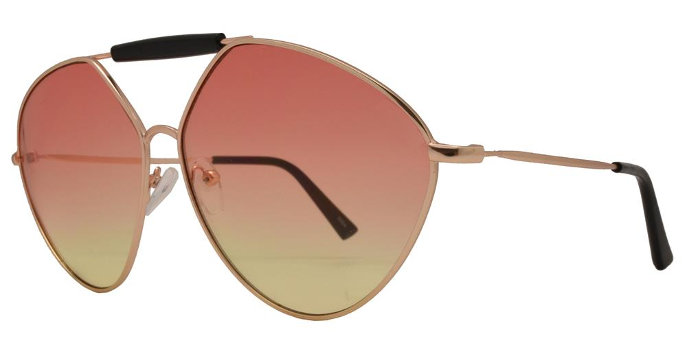 Wholesale - 8684 - Metal Hexagon Oval Shaped Sunglasses with Brow Bar - Dynasol Eyewear
