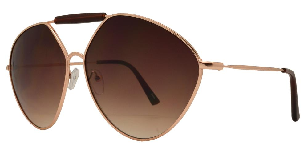 8684 - Metal Hexagon Aviator Sunglasses with Brow Bar