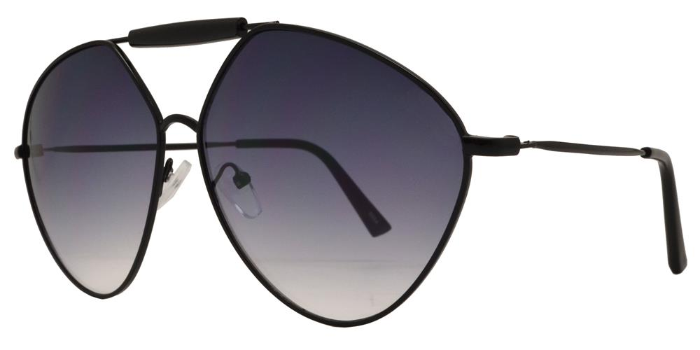 8684 - Metal Hexagon Oval Shaped Sunglasses with Brow Bar