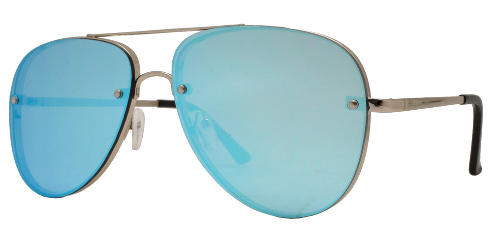 8687 - Classic Rimless Aviator Sunglasses with Flat Lens