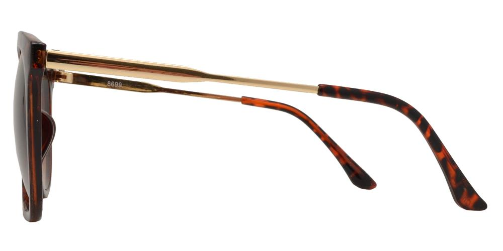 Wholesale - 8699 - Round Plastic Horn Rimmed Flat Top Sunglasses with Brow Bar - Dynasol Eyewear