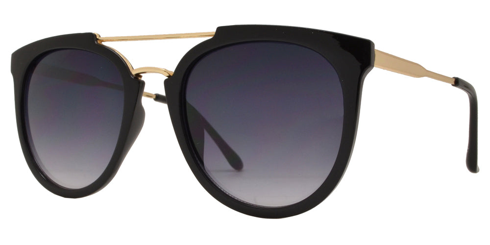 8699 - Round Plastic Horn Rimmed Flat Top Sunglasses with Brow Bar