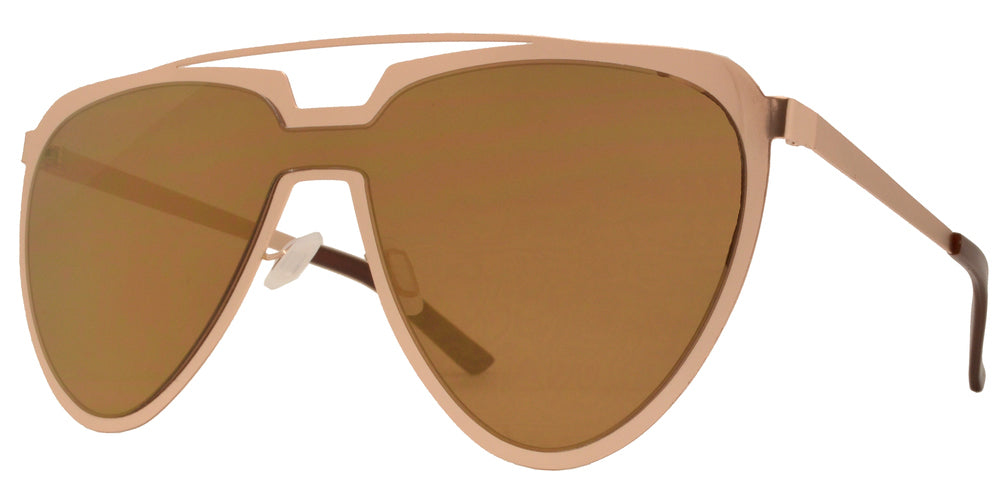 Dynasol Eyewear - Wholesale Sunglasses - 8713 RVC - Cut Out Frame Sunglasses with One Piece Color Mirror Lens - sunglasses