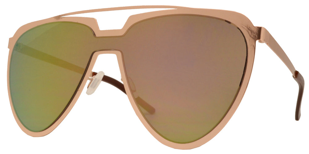8713 RVC - Cut Out Frame Sunglasses with One Piece Color Mirror Lens
