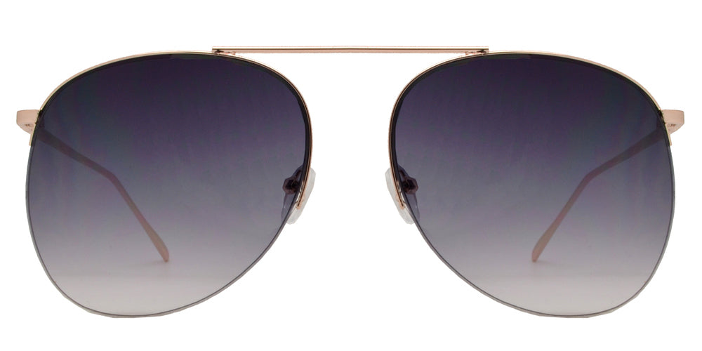 Wholesale - 8720 - Rimless Metal Oval Shaped Sunglasses with Brow Bar - Dynasol Eyewear