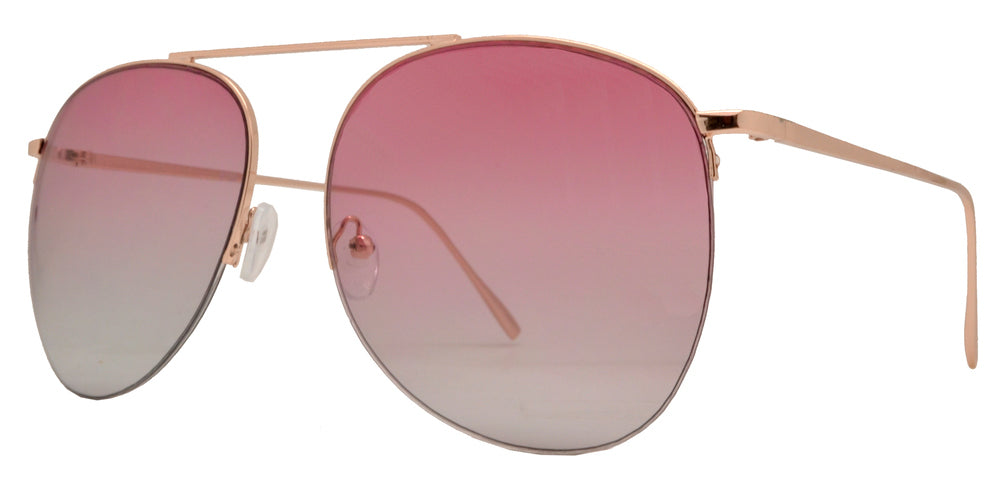 8720 - Rimless Metal Aviator Sunglasses with Brow Bar