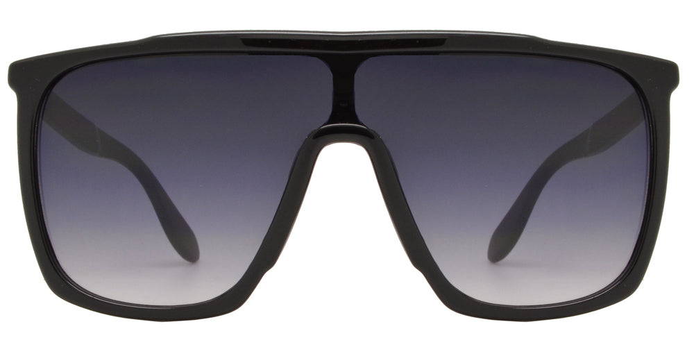 8725 Flat Top - Flat Top Shield Sunglasses with Smoke Lens