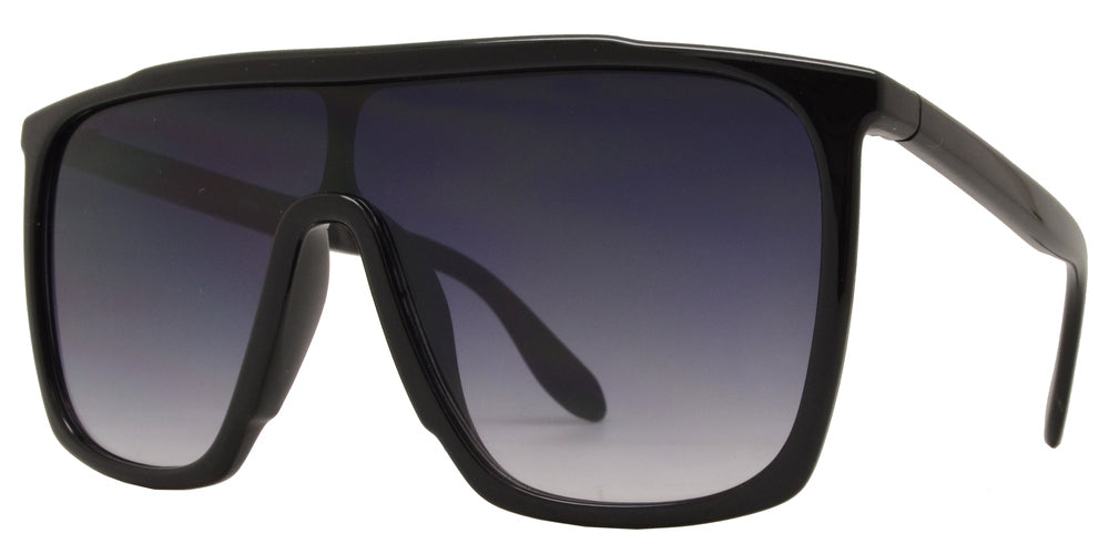 8725 A - Flat Top Shield Smoke Lens Plastic Sunglasses