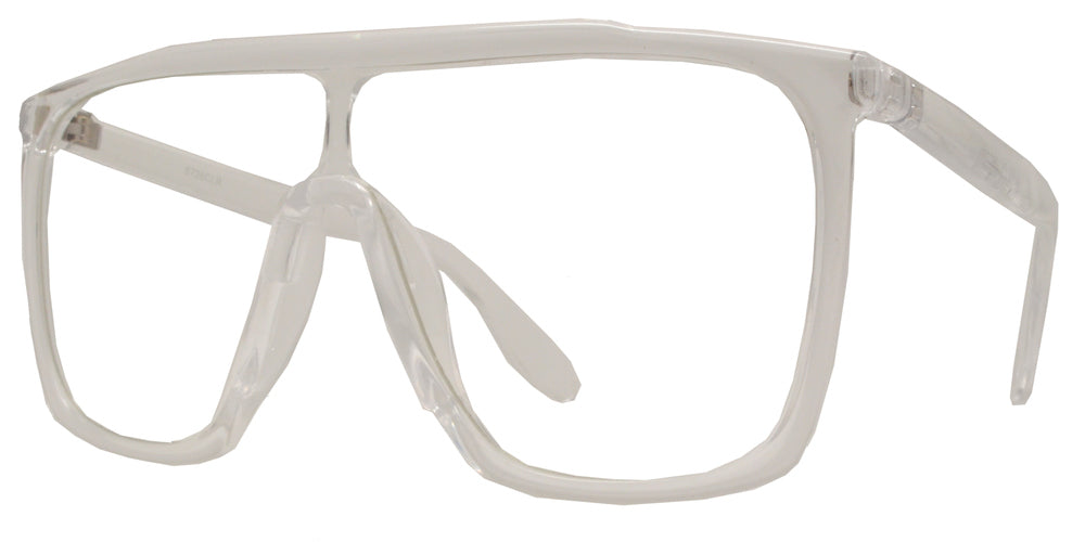 8726 Clear - Flat Top Shield Lens Plastic Sunglasses with Clear Lens