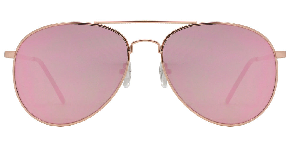 Wholesale - 8733 Pink - Metal Oval Shaped Sunglasses with Pink Mirror Flat Lens - Dynasol Eyewear