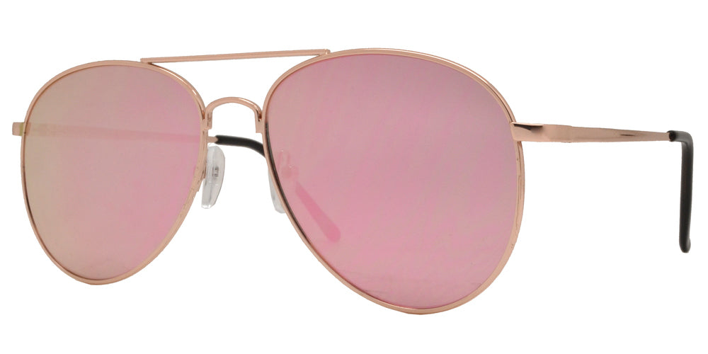 8733 Pink - Metal Oval Shaped Sunglasses with Pink Mirror Flat Lens