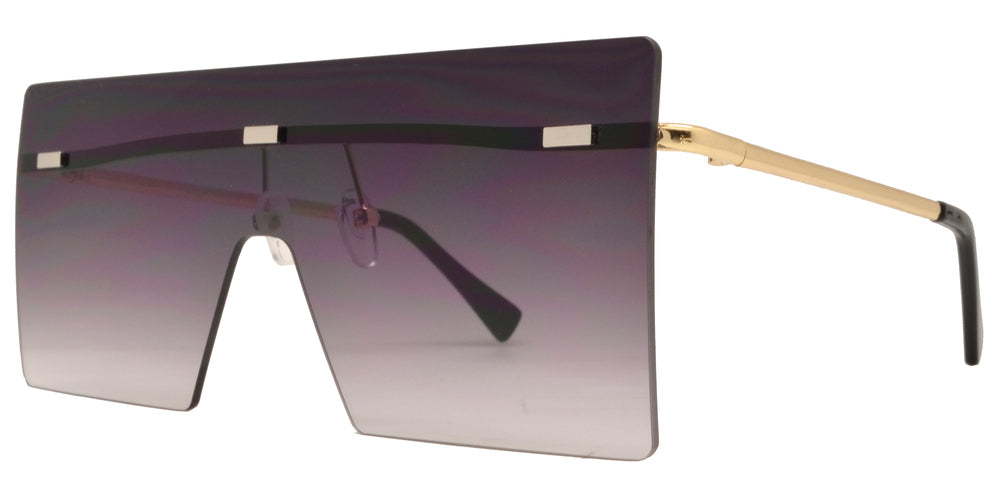 8735 - Metal Oversize Square Flat Top Sunglasses with Flat Lens