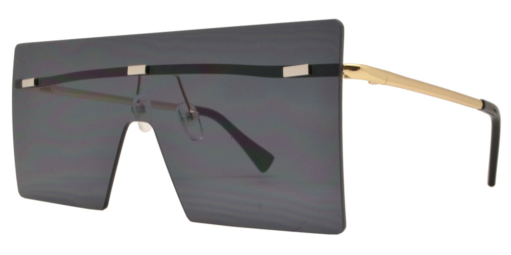 Dynasol Eyewear - Wholesale Sunglasses - 8735 - Metal Oversize Square Flat Top Sunglasses with Flat Lens - sunglasses