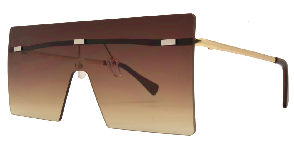 Wholesale - 8735 - Metal Oversize Square Flat Top Sunglasses with Flat Lens - Dynasol Eyewear