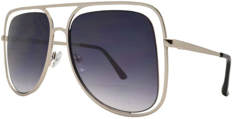8753 - Cut Out Metal Aviator Sunglasses