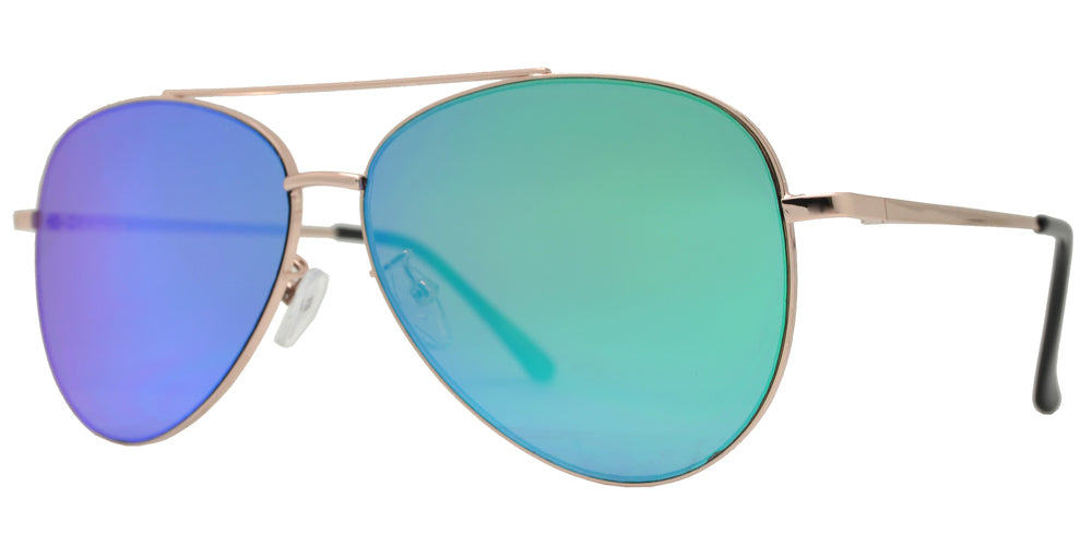 8817 Spectrum - Aviator Sunglasses with Color Mirror Flat Lens