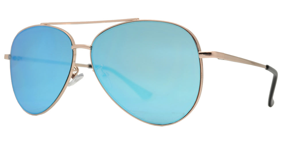 Dynasol Eyewear - Wholesale Sunglasses - 8817 Spectrum - Aviator Sunglasses with Color Mirror Flat Lens - sunglasses