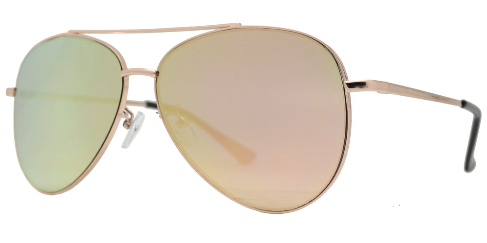 Wholesale - 8817 Spectrum - Oval Shaped Sunglasses with Color Mirror Flat Lens - Dynasol Eyewear