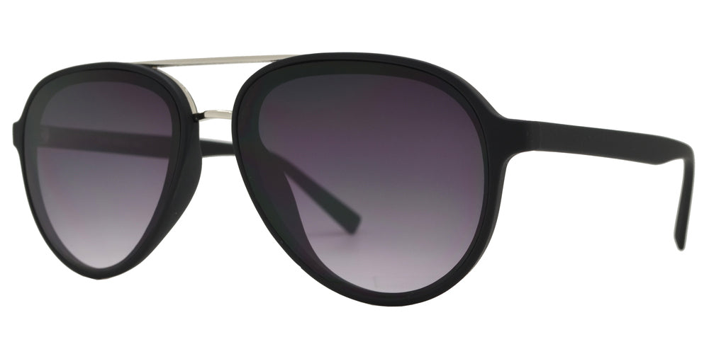 8820 - Retro Aviator with Brow Bar Flat Lens Plastic Sunglasses