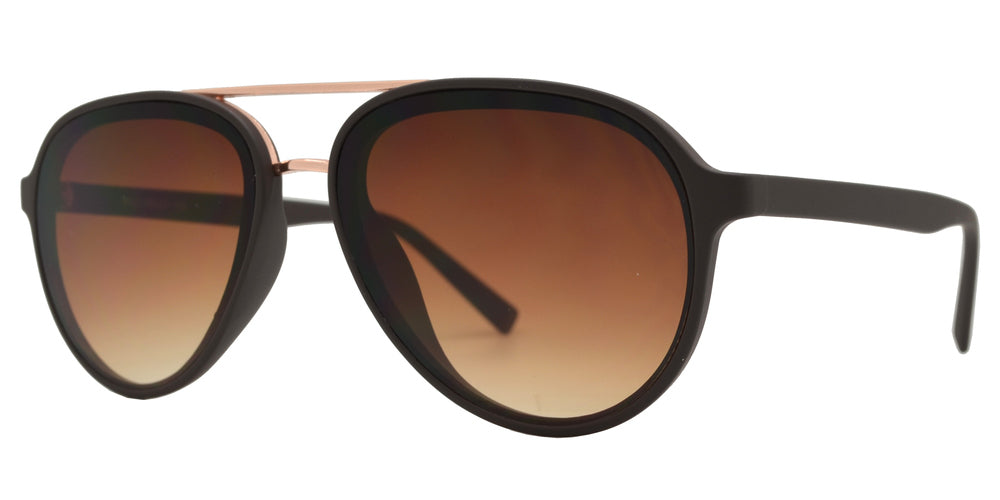 8820 - Retro Oval Shaped with Brow Bar Flat Lens Plastic Sunglasses