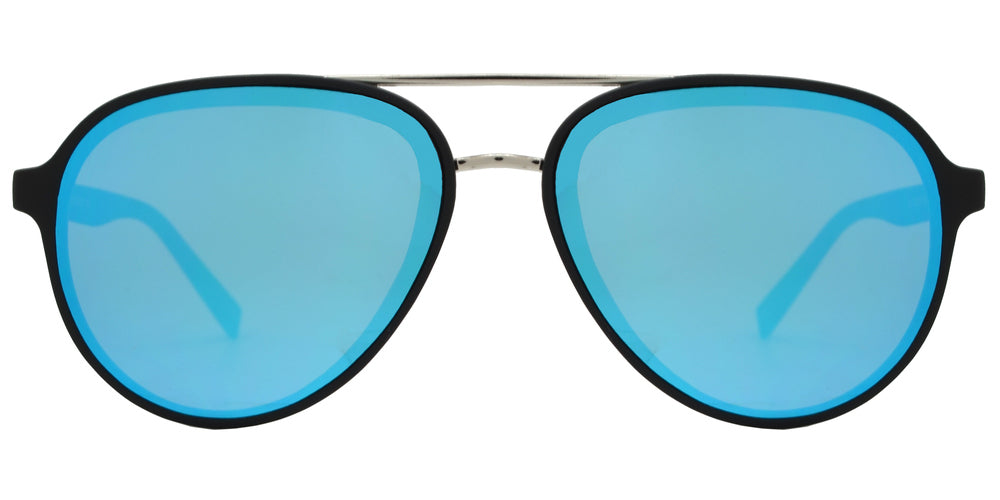 8820 RVC - Retro Oval Shaped Sunglasses with Color Mirror Flat Lens