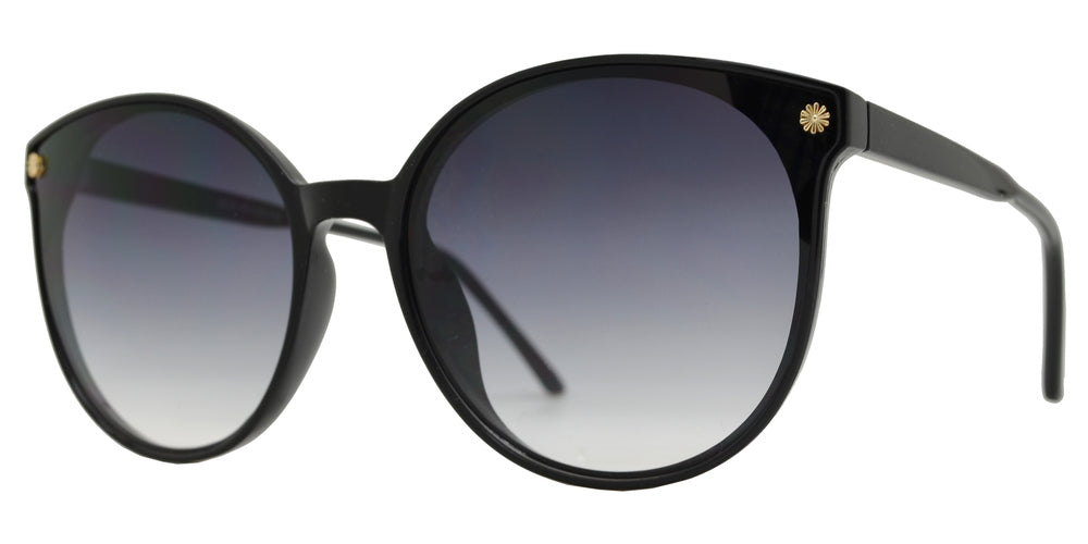 8838 - Plastic Round Horn Rim Sunglasses with Flower Accent