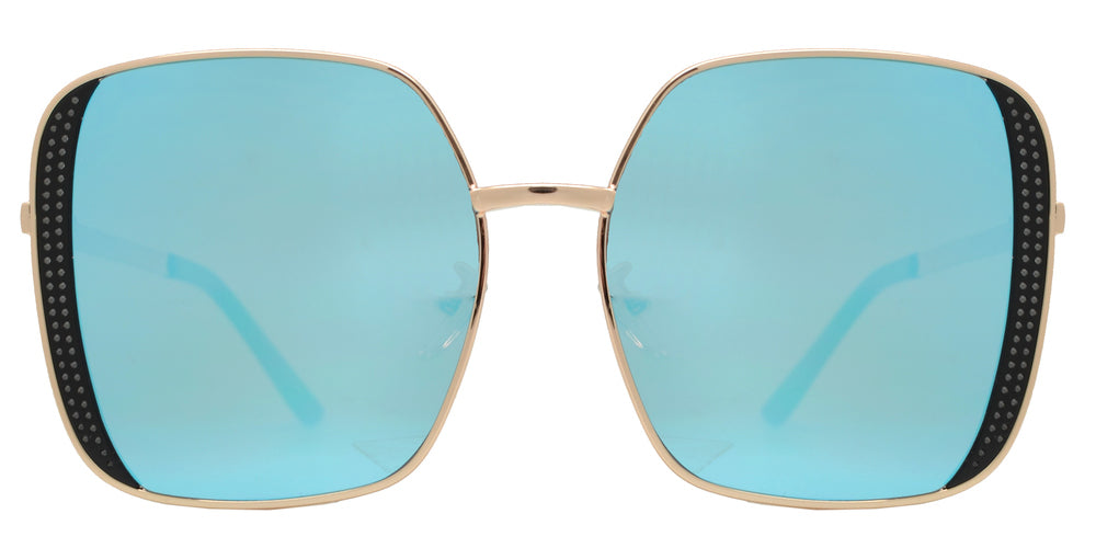 8843 - Metal Square Sunglasses with Flat Lens