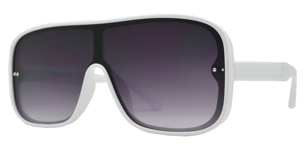 8848 - One Piece Shield Plastic Sunglasses with Flat Lens