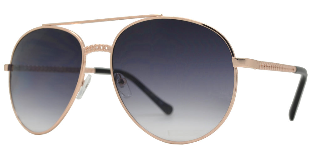 8850 - Retro Oval Shaped Sunglasses with Chain Design
