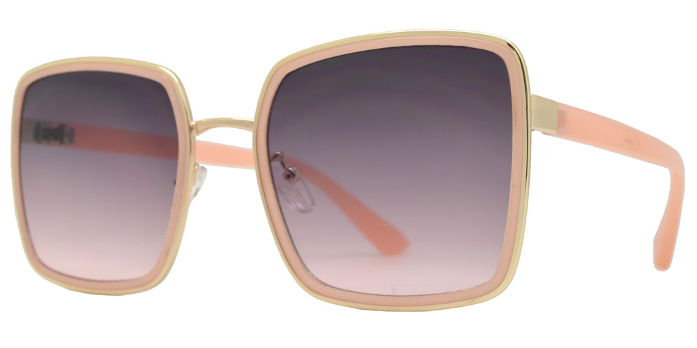 8851 - Square Metal Sunglasses with Flat Lens