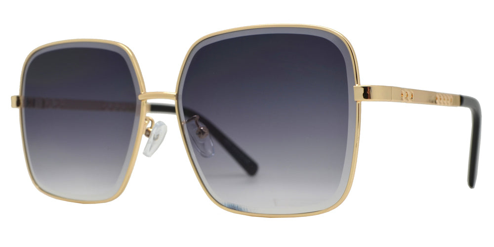8854 - Square Metal Sunglasses with Flat Lens