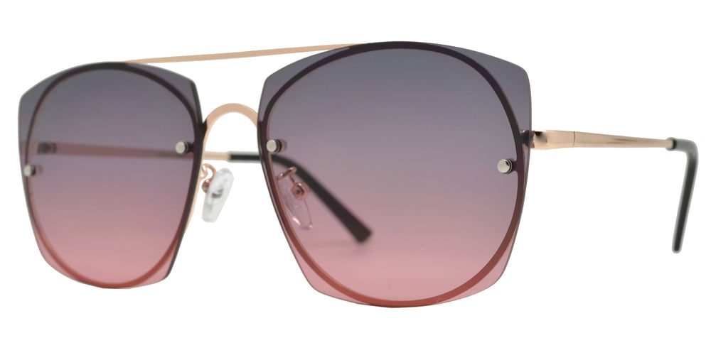 8856 - Rimless Flat Lens Metal Oval Shaped Sunglasses