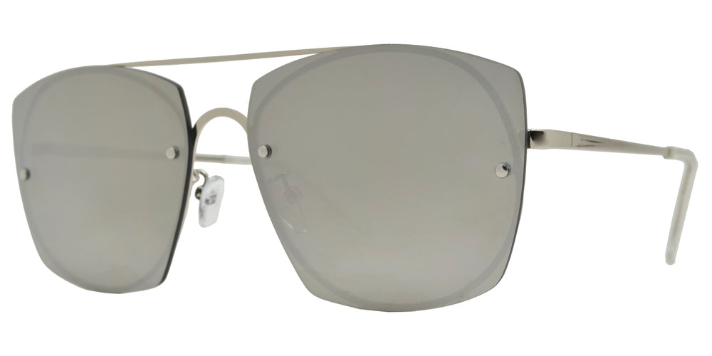Wholesale - 8856 - Rimless Flat Lens Metal Oval Shaped Sunglasses - Dynasol Eyewear