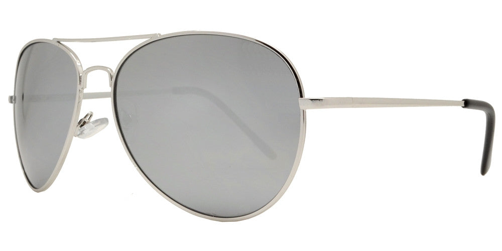 Dynasol Eyewear - Wholesale Sunglasses - 9090 Chrome - Classic Chrome Metal Aviator Sunglasses with Mirror Lens - sunglasses