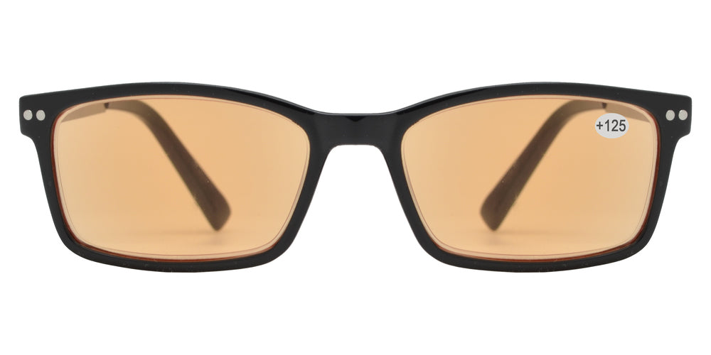 CRS 1019 +125 - Rectangular Plastic Computer Tinted Reading Glasses