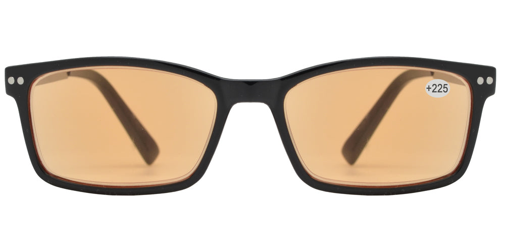 CRS 1019 +225 - Rectangular Plastic Computer Tinted Reading Glasses