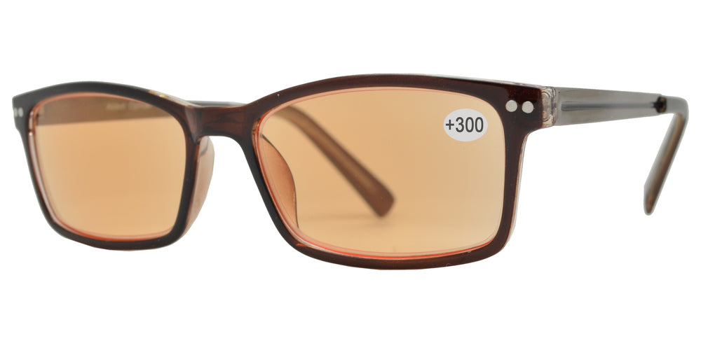 CRS 1019 +300 - Rectangular Plastic Computer Tinted Reading Glasses