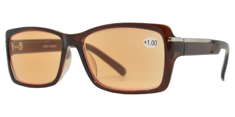 CRS 1020 +100 - Rectangular Plastic Computer Tinted Reading Glasses