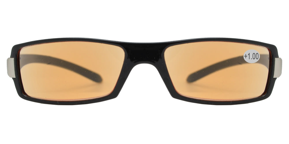 Wholesale - CRS 1211 +100 - Rectangular Plastic Computer Tinted Reading Glasses - Dynasol Eyewear