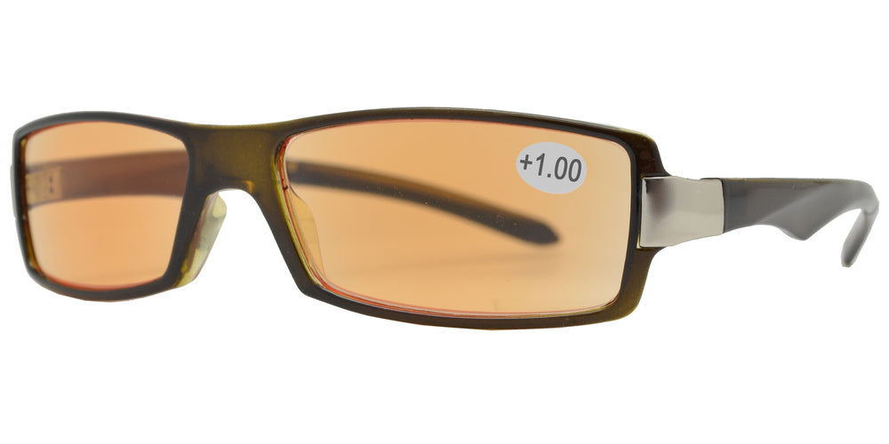 CRS 1211 +100 - Rectangular Plastic Computer Tinted Reading Glasses