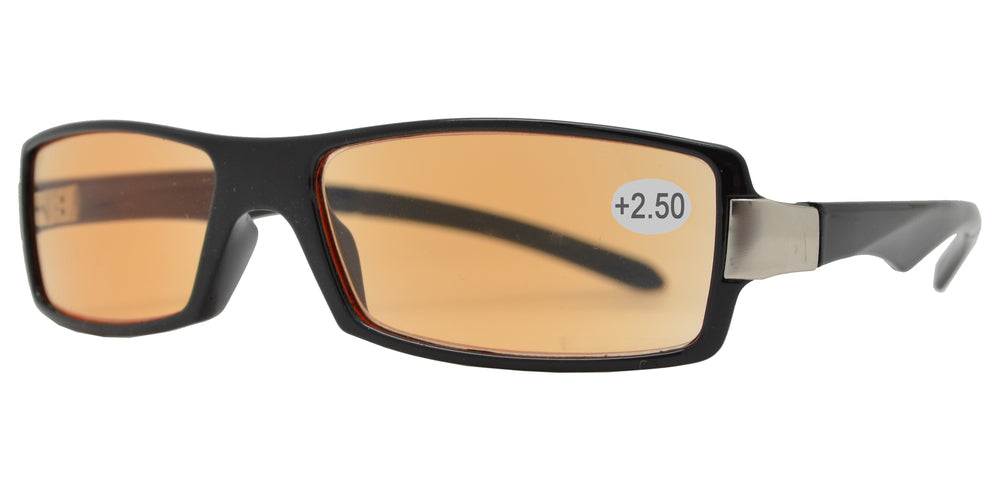 CRS 1211 +250 - Rectangular Plastic Computer Tinted Reading Glasses