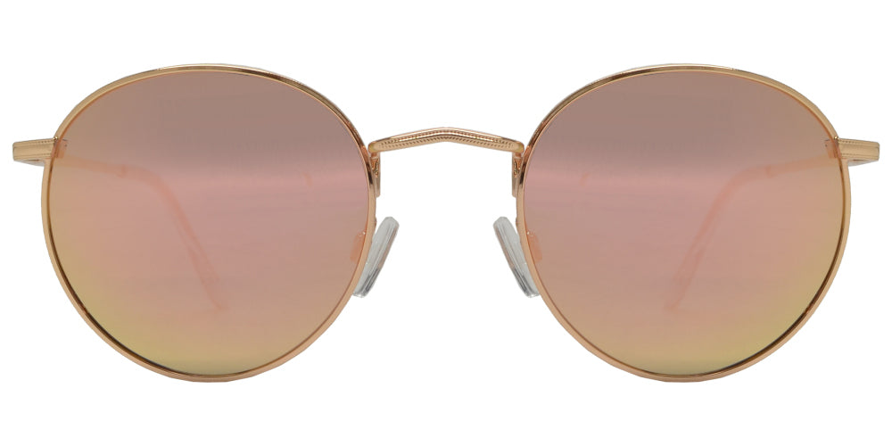 PL 3952 Pink RVC - Polarized Round Sunglasses with Pink Mirror Lens