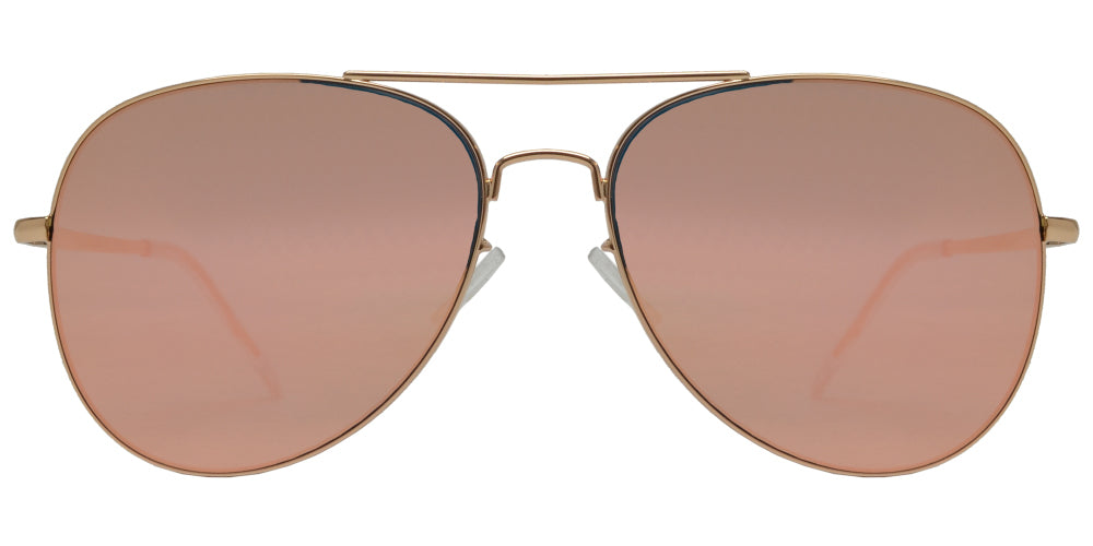 FC 6516 Pink RV - Oval Shaped Thin Stainless Frame Sunglasses with Pink Mirror Lens