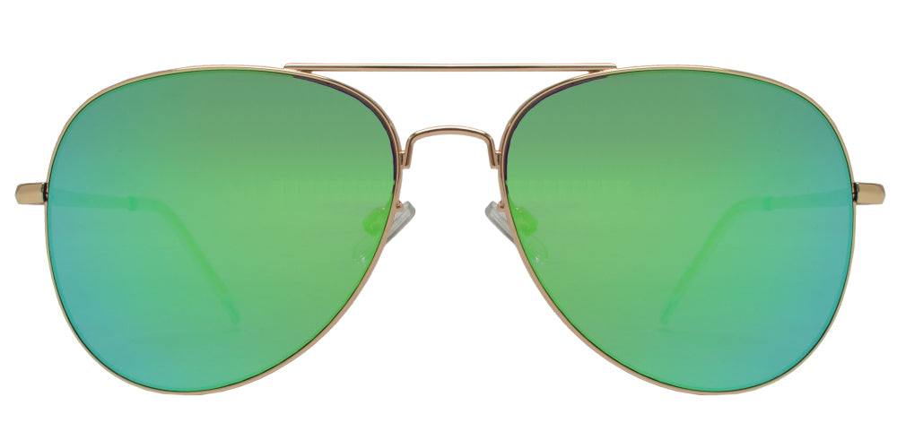 FC 6516 Green RV - Oval Shaped Thin Stainless Frame Sunglasses with Green Mirror Lens