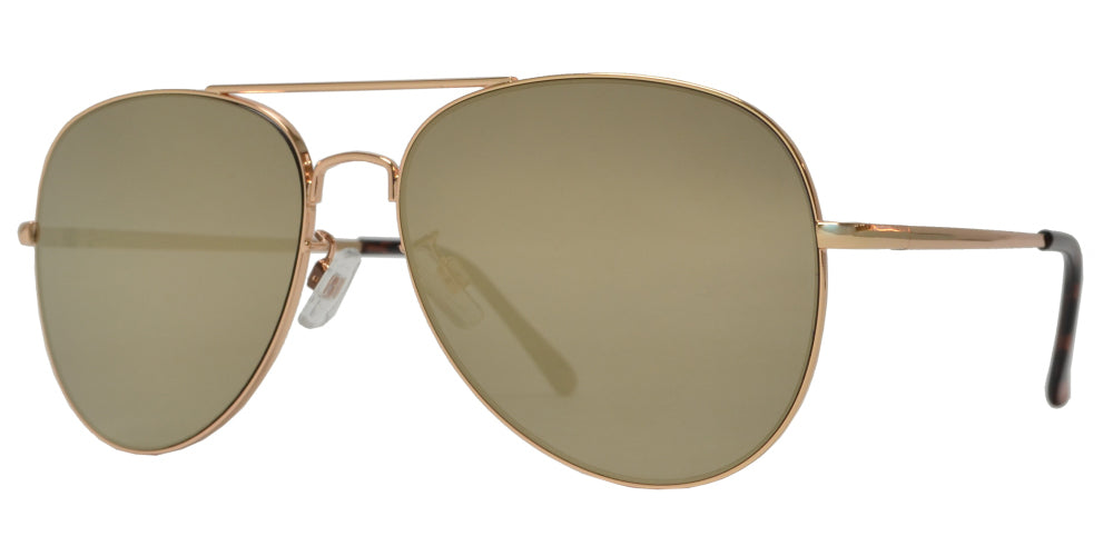 FC 6516 Gold RV - Oval Shaped Thin Stainless Frame Sunglasses with Gold Mirror Lens