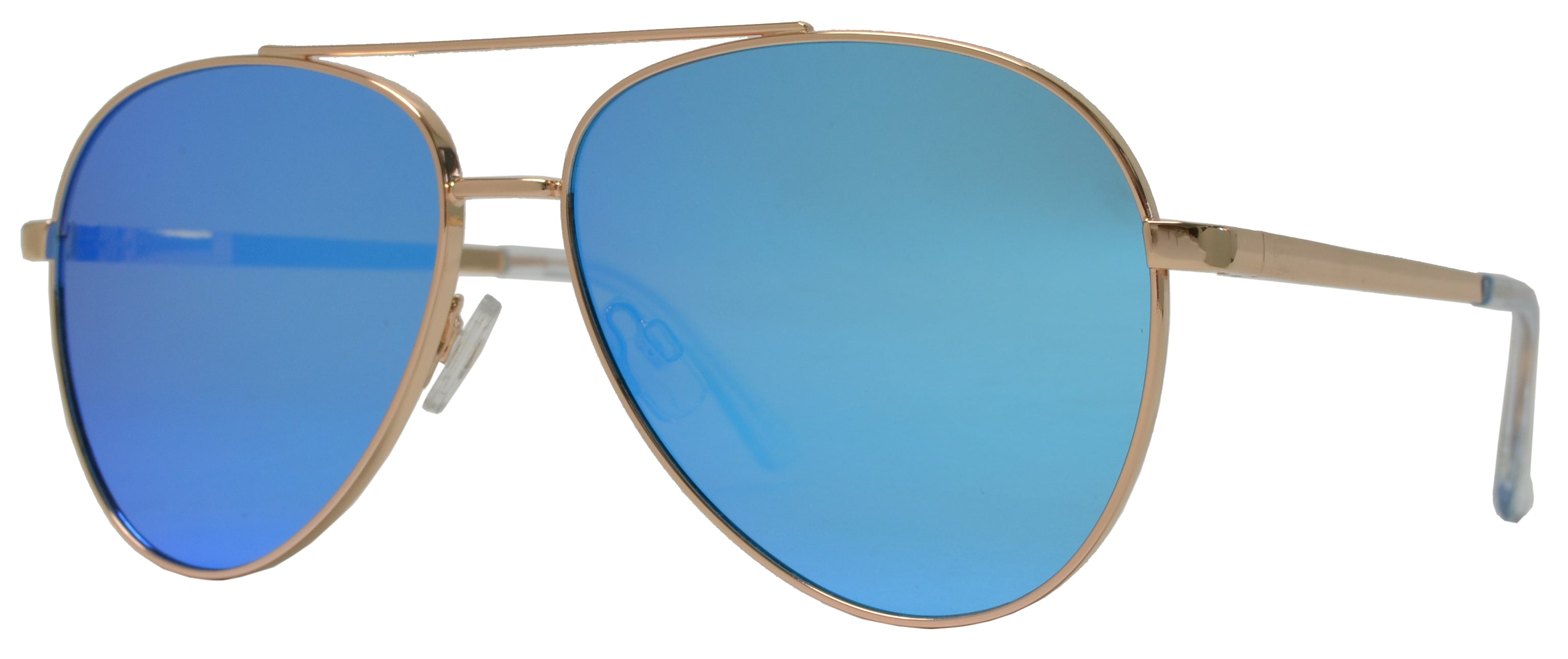 FC 6514 Blue RV - Thick Frame Oval Shaped Sunglasses with Blue Mirror Lens